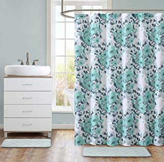 Hudson & Essex All American Collection 15-Piece Oversized Bathroom Set with 2 Memory Foam Bath Mats and Matching Shower Curtain | Designer Patterns and Colors (Astor Aqua)