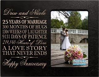 Personalized Twenty Fifth Year her him Couple Engraved 25th Year Wedding Celebration for Husband Wife Girlfriend Boyfriend Frame Holds 4x6 Photo by LifeSong Milestones (Black)