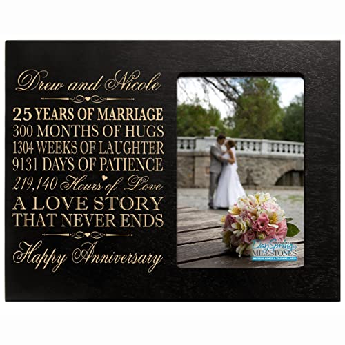 LifeSong Milestones Personalized Twenty Fifth Year her him Couple Engraved 25th Year Wedding Celebration for Husband