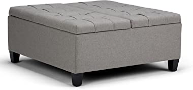 SIMPLIHOME Harrison 36 inch Wide Square Coffee Table Lift Top Storage Ottoman, Cocktail Footrest Stool in Upholstered Dove Gr