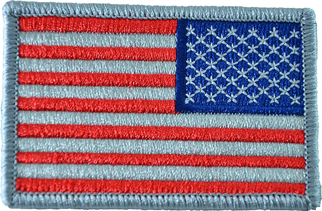 Papapatch Tactical Reverse USA Flag American US United States of America Embroidered Hook and Loop Touch Fastener Backing Patch - Subdued Silver (PS-HOOK-USA-REVS-SS)