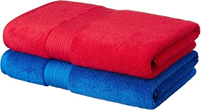 Amazon Brand - Solimo Ultra-Soft 100% Cotton 2 Piece Bath Towel (Midnight Blue and Tangy Red)