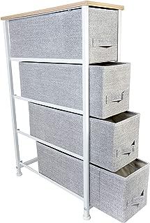 Slim 4 Drawer Storage Organizer Unit for Bedroom & Living Room, Natural Wooden Top