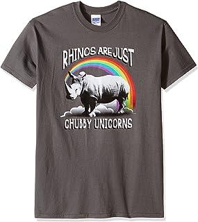تي شيرت T للرجال برسم مرح مطبوع عليه صورة وحيد القرن السمين