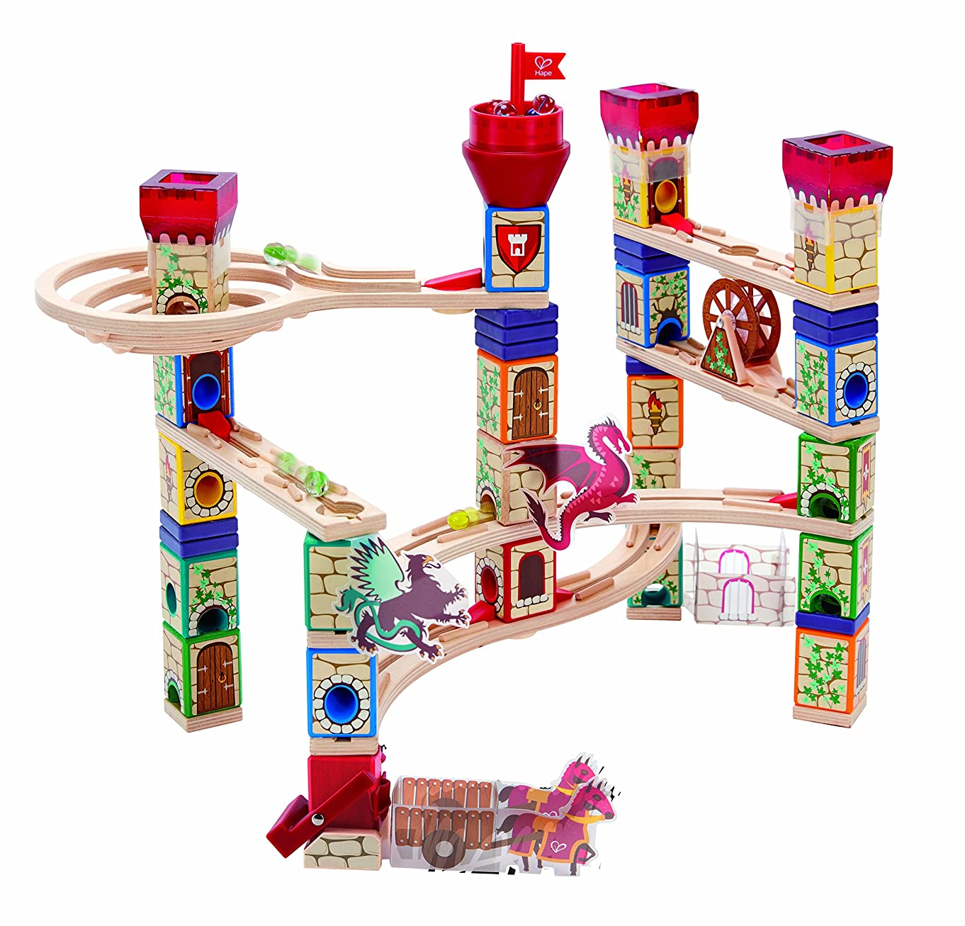 Hape Quadrilla Wooden Marble Run Construction Medieval Quest Set, 212Piece