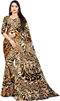 SAMEEHA Women's Georgette Tiger Printed Elegant Saree with Unstitched Blouse