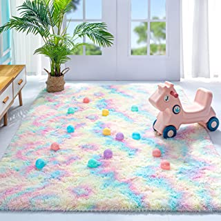 Noahas Fluffy Rainbow Rug for Girls Kids Luxury Shaggy...