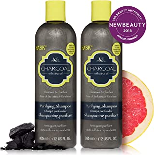 HASK CHARCOAL WITH CITRUS OIL Shampoo, Clarifying and Purifying for all hair types, color safe, gluten-free, sulfate-free, paraben-free - 2 Shampoos