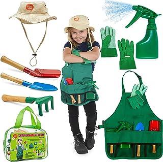Born Toys Kids Gardening Set, Kids Gardening Tools with rake, Kids Gardening Gloves and Washable Apron Set for Real or San...