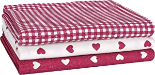 Set of 4 Cackleberry Home Laurel Hearts Terrycloth Kitchen Towels Black
