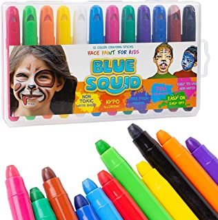 Face Paint Crayons for Kids - 12 Color No Mess Twistable Marker Sticks | Best Quality Face & Body Painting Set | Water Based Non-Toxic FDA Approved |+Online Guide