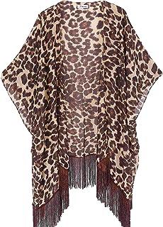 soul young Sommer Strand Kimono für Frauen - Damen Chiffon Pareo Cardigan Cover up Sommerkleider für Bikini