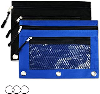 Binder Pencil Pouches - 2 Pieces 3 Ring Pencil Pouch with Zipper Pulls Double Pockets Pencil Case with Clear and Mesh Window (2 Pieces, Blue and Black)
