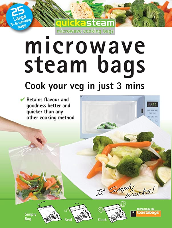 25 Pack Large Quickasteam Microwave Steam Cooking Bags For Faster Healthier Vegetables