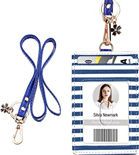 ID Badge Holder with Lanyard, Vertical PU Leather ID Badge Card Holder with 1 Clear ID Window, 4 Credit Card Slots and a Detachable Neck Lanyard (Stripe)