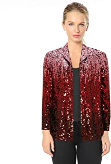 Women's Gradient Sequin Jackets, Sparkly Long Sleeves Open Front Cardigans Jacket Party Club wear