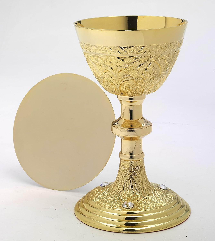 Altarkelche Kelch mit Patene VerGoldet H 22 cm, Messing, VerGoldet, Gold, mit Edlen Kristallsteinen, Wird mit Patene geliefert