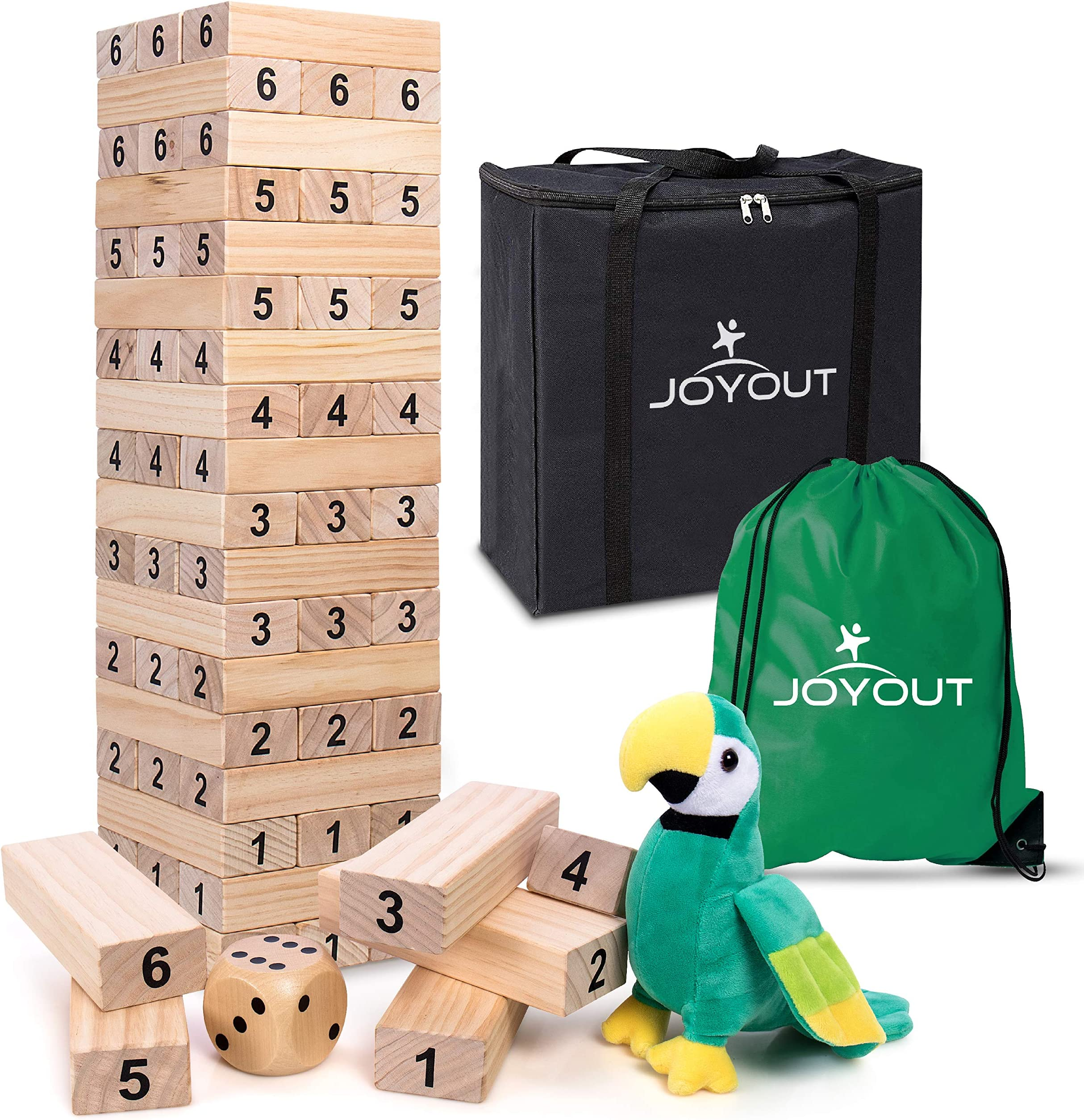 JOYOUT Giant Tumble Tower: Complete 54 Jumbo Stacking Wood Blocks Game Build 5 Feet Tall with Large Die, 2 Bags, Bird Toy, Indoor Outdoor Family Fun