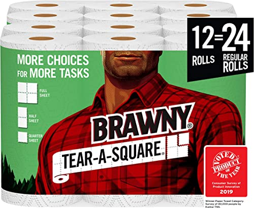 Brawny Tear-A-Square Paper Towels, 12 = 24 Regular Rolls, 3 Sheet Size Options, Quarter Size Sheets, 12 Count, 12 Cou...