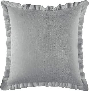 Rachel Ashwell Emma Solid Royal Plush Faux Velvet Vintage Farmhouse Decorative Throw Pillow, 18X18, Grey
