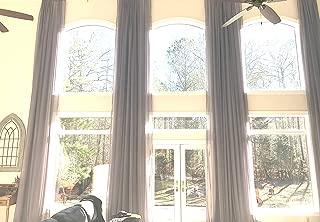 Ikiriska Extra Long Sheer Voile Curtain with Grommet top for high Ceiling 10 16 17 18-24ft Length Gray White Custom Made 100