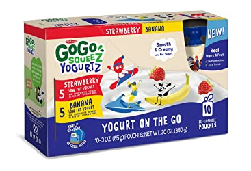 GoGo SqueeZ YogurtZ on the Go, Variety Pack (Strawberry/Banana), 3.2 Ounce Portable BPA-Free Pouches