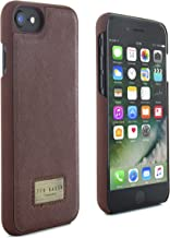 Ted Baker Official SS17 Leather Effect Hard Shell for iPhone 7 Snap on Back Cover for Apple iPhone 7 Protective Hard Case with Logo Plated - HALIDAY - Tan