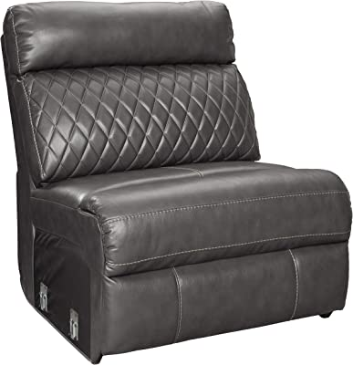 Benjara Faux Leather Upholstered Chair with Tufted Backrest, Gray