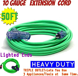 Outdoor Extension Cord 50ft 10/3 Triple Outlet 3 Prong With Lighted Ends 10 Gauge Power Extension Cord Power Your Major Appliances (50 ft Triple Tap, green)