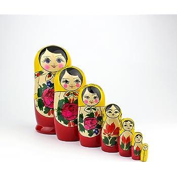 Heka Naturals Matryoshka Poup/ées Russes De No/ël Neige Classique Babushka Fabriqu/é /À La Main en Russie en Bois Cadeau Jouet Fille des neiges