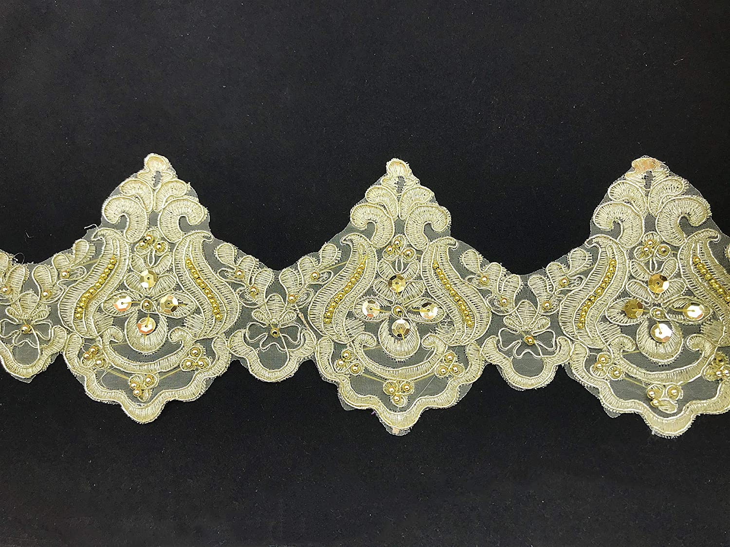 13CM Width Bead Special sale item Wave Pattern price Inelastic Embroidery Curt Trim Lace