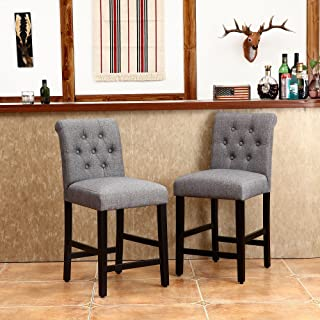 LSSBOUGHT Set of 2 Button-Tufted Fabric Barstools Dining High Counter Height Side Chairs (Seat Height: 24 inches, Gray)