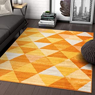 Isometry Orange & Yellow Modern Geometric Triangle Pattern 5x7 (5' x 7') Area Rug Soft Shed Free Easy to Clean Stain Resistant