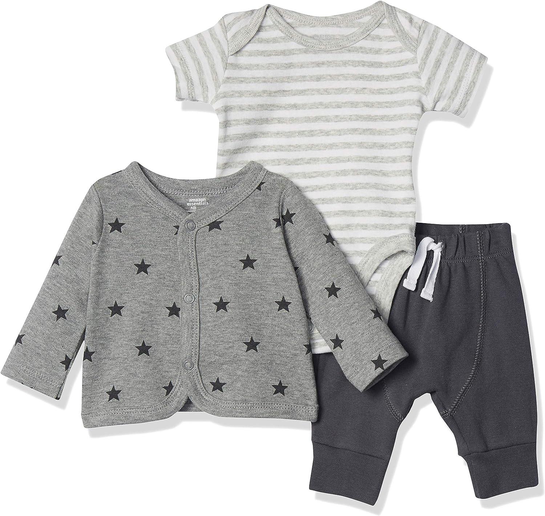 Amazon Essentials Baby Infant Cotton Cardigan, Pants, Bodysuit Outfit Sets