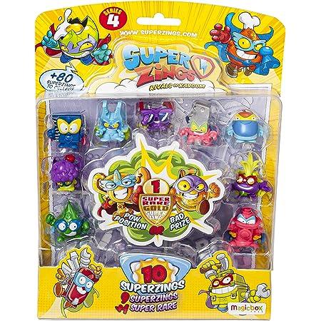 SuperZings - Serie 4 - Blíster con 10 figuras (PSZ4B016IN00), 9 Figuras y 1 Figura Dorada Super Rare