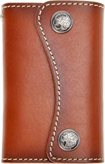 Genuine Leather 6 Hook Key Holder Wallet Pouch Case Button Closure for Mens Womens by ZLYC with Card Holder (Brown)