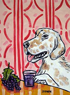 english Setter grape juice decor dog animal art Print