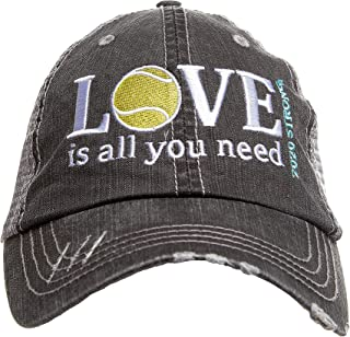 Tennis Addiction - Love is All You Need 2020 Strong - Fun Tennis Distressed Black Trucker Hat