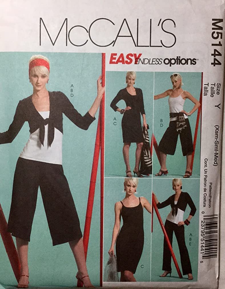 McCall's M5144 Sewing Pattern, Misses' Jacket, Top, Dress, Gaucho and Pants, Size (Xsm-Sml-Med)