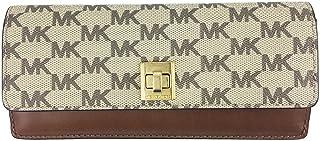 ed7773102a64 MICHAEL MICHAEL KORS Natalie Heritage Signature Logo Slim Wallet (Natural/  Luggage)