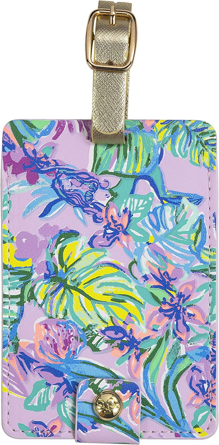 New York Mall Lilly Pulitzer Leatherette Luggage Tag Colorf In a popularity Strap Secure with