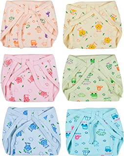 Kuchipoo Cotton Padded Assorted Coloured Nappies for Baby Boys and Baby Girls - Pack of 6 (KUC-RNAP-102, Multicolor, 3-6 Months)