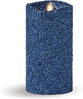 Luminara Flameless Pillar Candle (Blue Glitter, 7-Inch Tall); LED Battery-Operated Candle with Remote, Great for Christmas and Holidays
