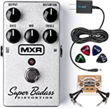 MXR M75 Super Badass Distortion Pedal Bundle with Blucoil Slim 9V 670ma Power Supply AC Adapter, 2-Pack of Pedal Patch Cables and 4-Pack of Celluloid Guitar Picks