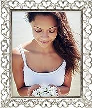 Malden International Designs Moldura de prata perfurada com joias de corações encantados, 20 x 25 cm, prata