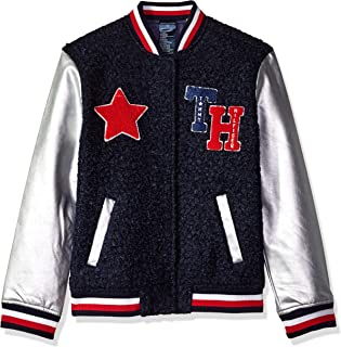 Girls' Adaptive Varsity Jacket with Magnetic Buttons and Sherpa