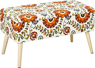 Otto & Ben Mid Century Ottoman with EASY LIFT Top, Upholstered Shoe Ottomans Seats for Entryway and Bedroom, Retro Floral