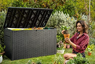 Keter Java XXL 230 Gallon Resin Rattan Look Large Outdoor Storage Deck Box for Patio Furniture Cushions, Pool Toys, and Garde