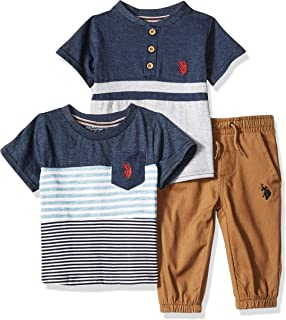 U.S. Polo Assn. Baby-Boys 8707 3 Piece Short Sleeve Pocket T-Shirt, Henley, and Jogger Pants Set - Blue