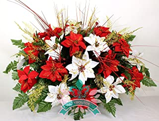 XL Artificial Red and White Poinsettia's w Gold Sprays Cemetery Flower Headstone Saddle Grave Decoration